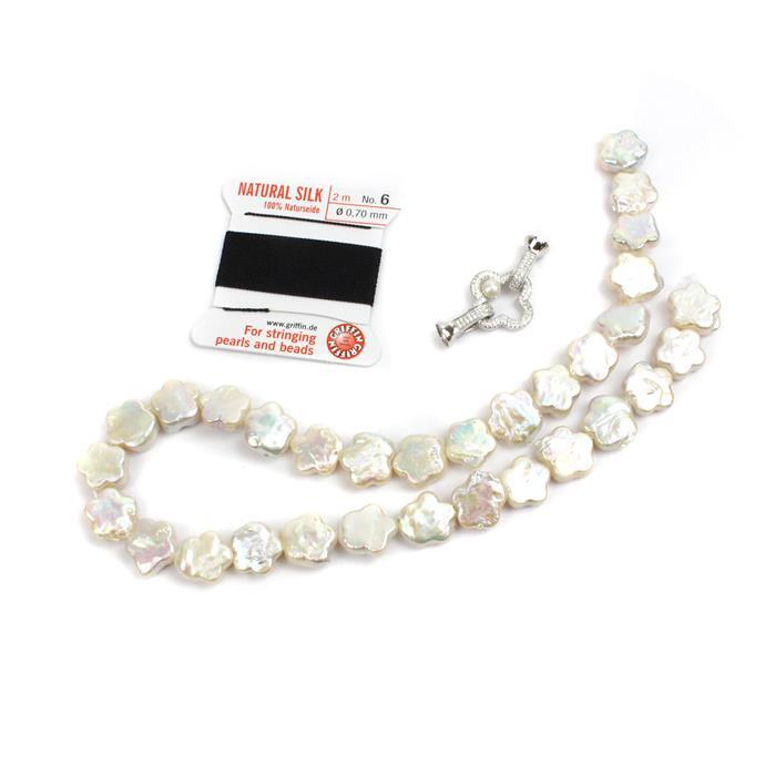 Floral: High Lustre Flower Shaped Freshwater Pearls, 925 Silver CZ FLower Clasp & thread