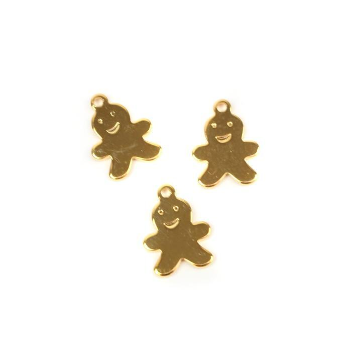 Gold Plated 925 Sterling Silver Gingerbread Charms Approx 9mm, 3pcs