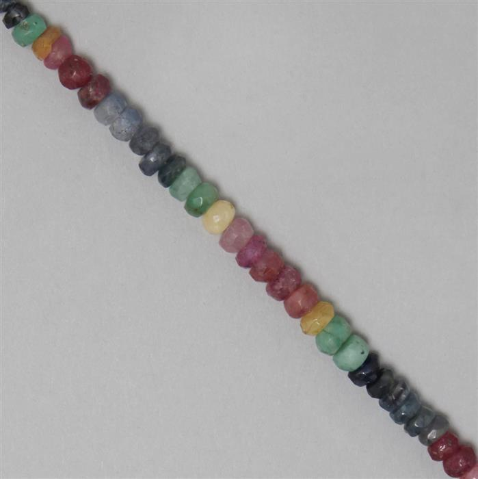 38cts Ruby, Emerald & Sapphire Graduated Faceted Rondelles Approx 2x1 to 5x3mm, 17cm Strand.