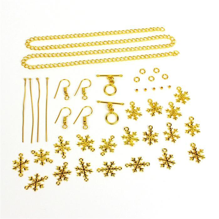 Unique: Gold colour Snowflake Charms x10 & Connectors x10 & Gold Plated findings (21 pcs)