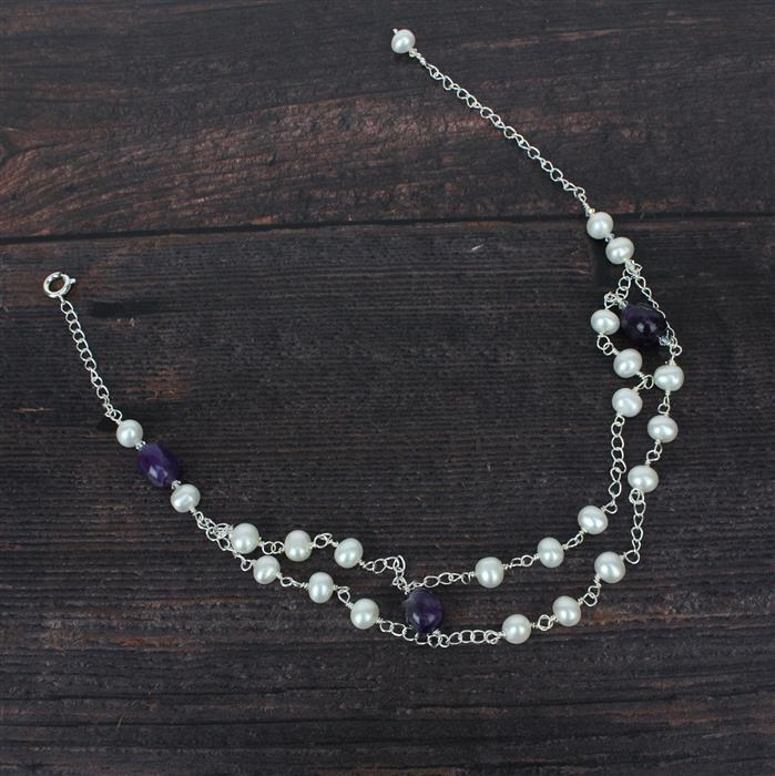 Amethyst Sparkle; 310cts Polished Amethyst Nuggets, Cultured Pearls, Swarovski & Findings