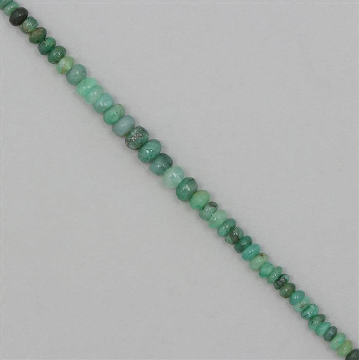 20cts Zambian Emerald Graduated Plain Rondelles Approx 2x1 to 5x2mm,18cm Strand.