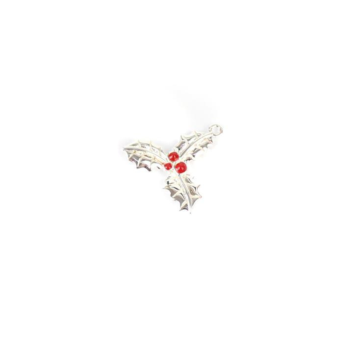 925 Sterling Silver Holly Charm Approx 15mm, 1pc