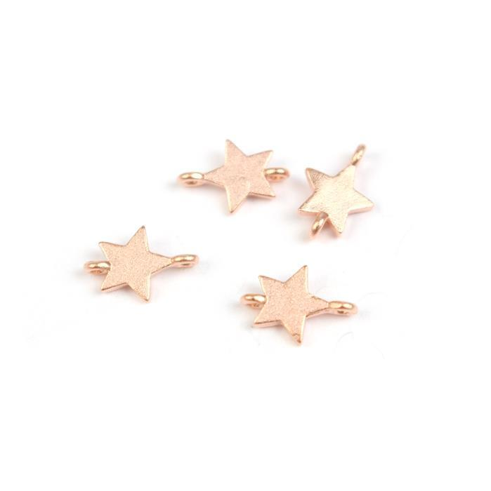 Rose Gold Plated 925 Sterling Silver Matt Finish Star Connectors Approx 6x9mm (4pcs)