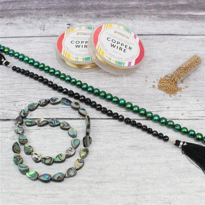 Pear-y Nice INC Green cultured Pearls, Black Spinel Faceted Rounds & Abalone Pears