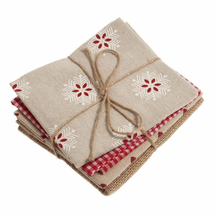 Red & Natural Fat Quarters Pack of 4