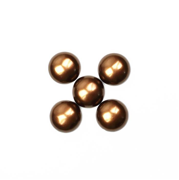 Chocolate Shell Pearl Round Cabochon Approx 20mm (5 pcs)