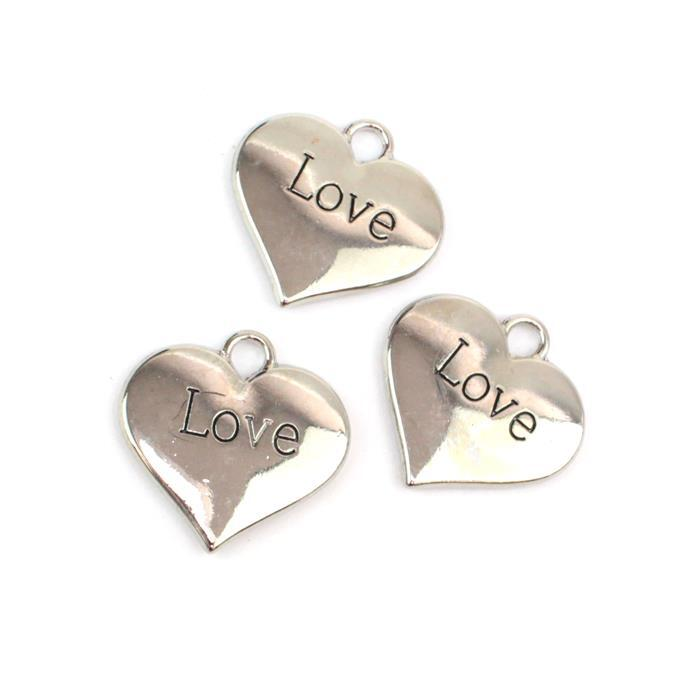 Silver Colour Heart Charms Engraved With Love Approx 3cm 3pk
