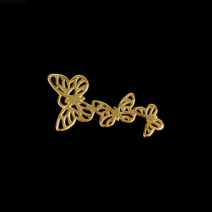 Gold Plated 925 Sterling Silver Filigree Butterfly Kaleidoscope Pendant Approx 31mm 1pk