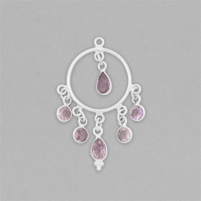 925 Sterling Silver Chandelier Approx 37x24mm Inc. 4cts Amethyst
