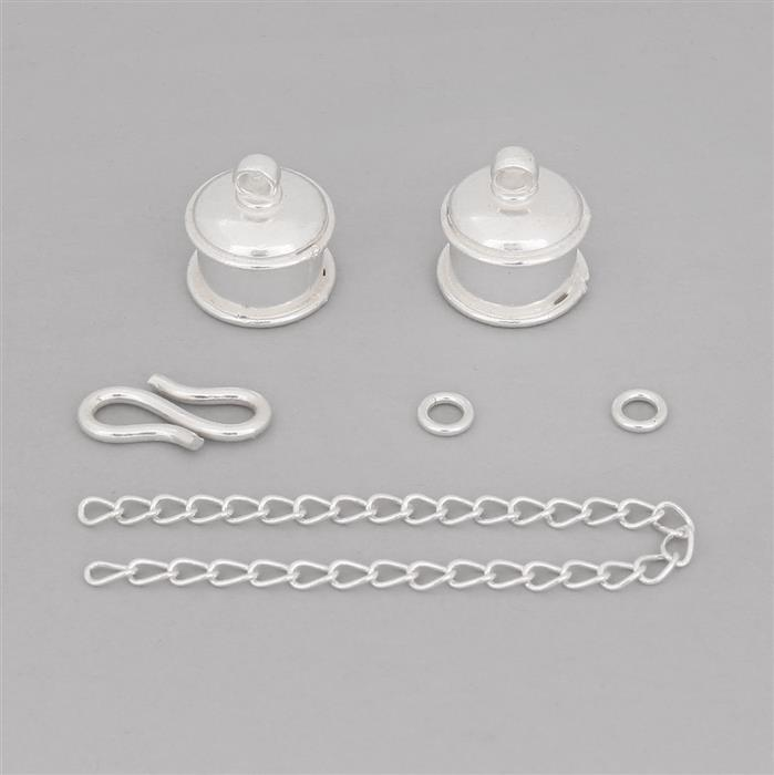 Silver Plated Base Metal Small Cord Ends Finding Pack - (6pcs/pk)