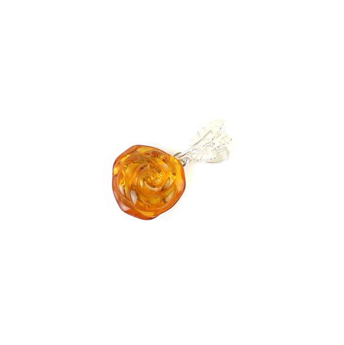925 Sterling Silver Baltic Cognac Amber Rose Pendant Approx 28x15mm