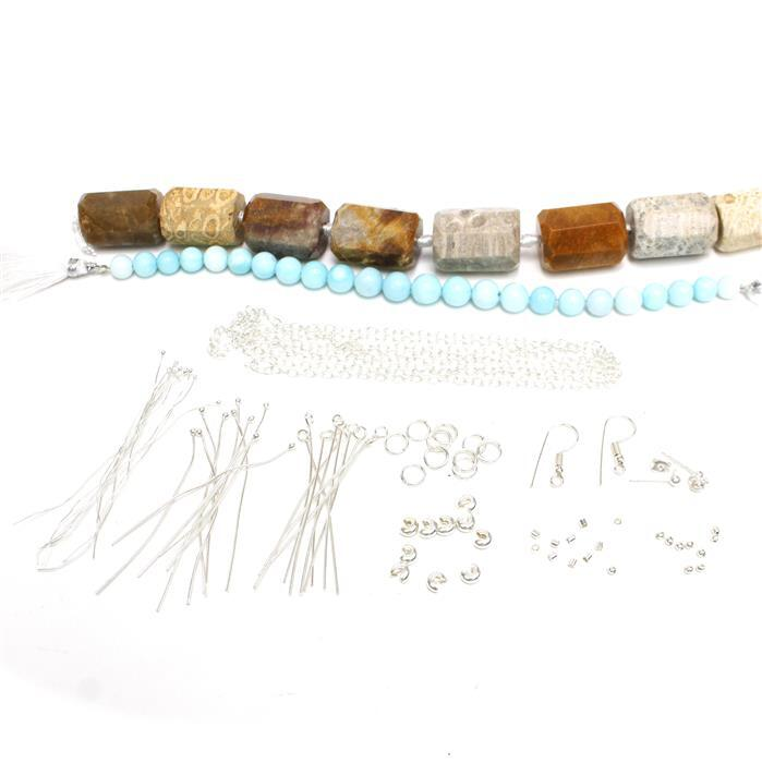 Coconut Sky: Peruvian Blue Opal Rounds, Fossil Jasper Barrels & Silver Plated Findings