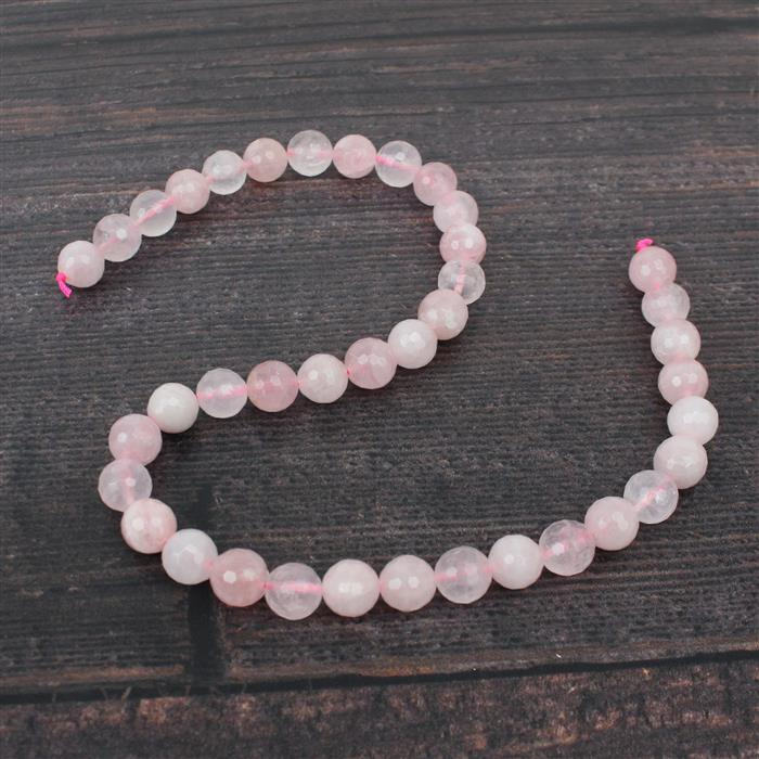 240cts Rose Quartz Faceted Rounds Approx 10mm 38cm strand