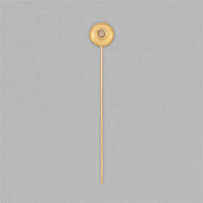 Gold Plated 925 Sterling Silver Gemset Birthstone Headpin Approx 59x9mm Inc. 0.06cts Ethiopian Opal Round Approx 3mm
