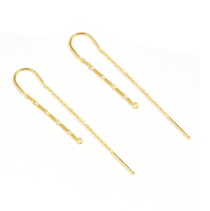 Gold Plated 925 Sterling Silver Earring Wire With Cable And Figaro Chain Approx 6cm drop