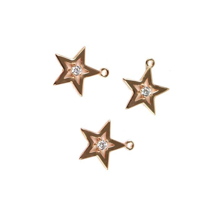 Rose Gold Plated 925 Sterling Silver Star With One Cubic Zirconia Charms Approx 15mm, 3pcs