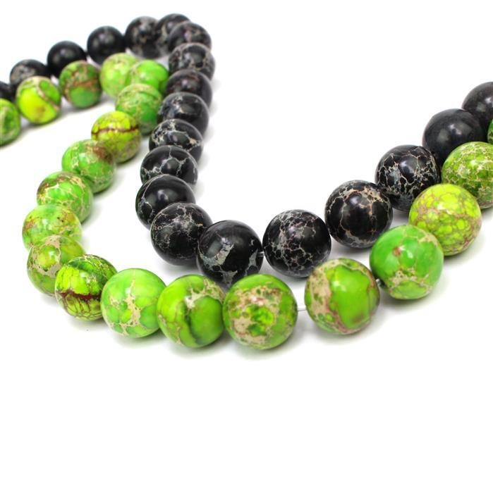 Terra Jasper! 12mm Rounds. Inc; Apple Green & Black.