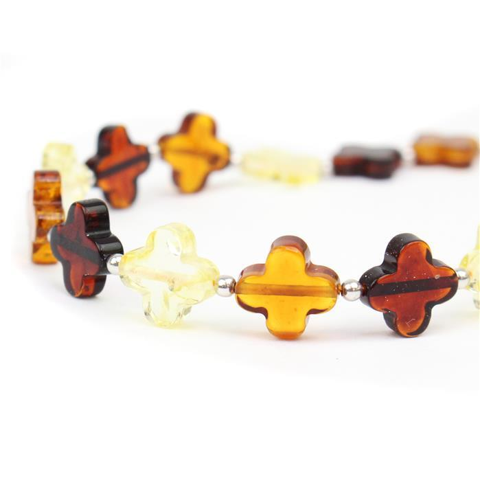 Baltic Multi-Colour Amber Flowers Beads Approx 10mm, 20cm Strand Inc. Sterling Silver Spacers