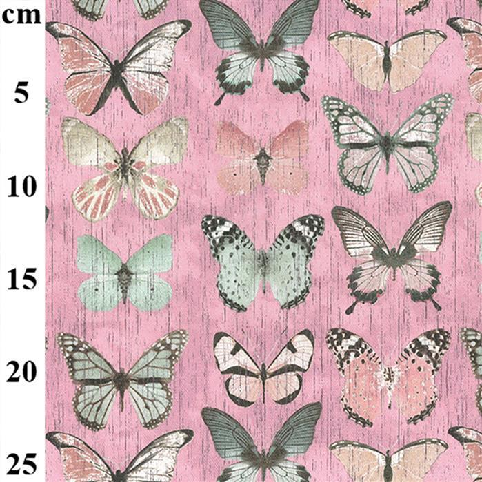 100% Cotton Canvas Butterflies on Pink 0.5m