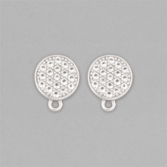 925 Sterling Silver Gemset Stud Earring in Round Shape Approx 12x9mm Inc. 0.70cts White Topaz Round Approx 1.5mm