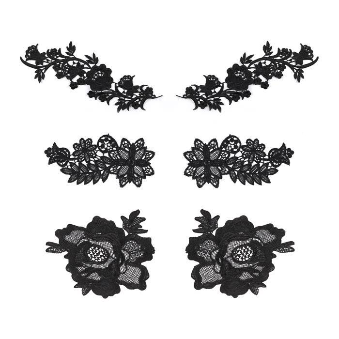 Black Colour Lace Bundle, Set of 3 Sizes: 18.5x8cm, 19 x15.3cm, 28.5x9.5cm