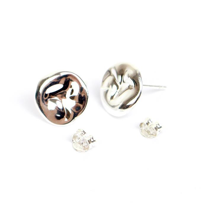 925 Sterling Silver Round Earrings with Loop Approx 13mm