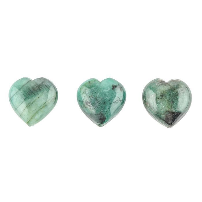 40cts Emerald Plain Drilled Heart Approx 15mm. (Pack of 3)