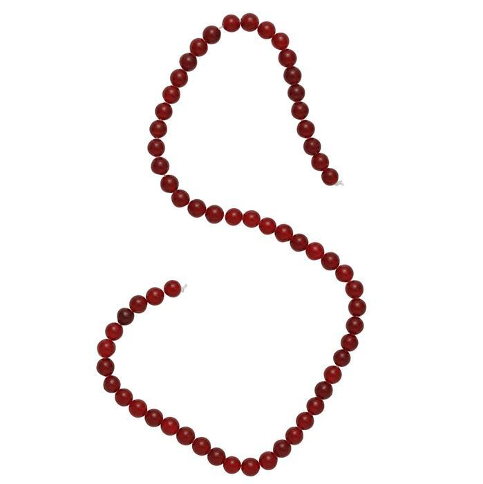 75cts Red Colour Dyed Quartz Plain Rounds Approx 5mm, 35cm Strand.