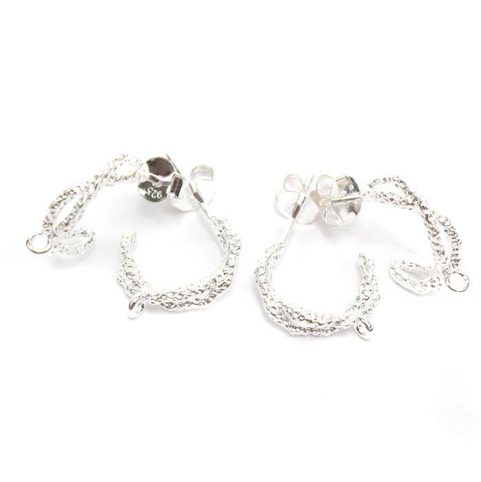 925 Sterling Silver Criss Cross Hoop Earrings With Texture & Loop Approx 12mm (2Pairs)