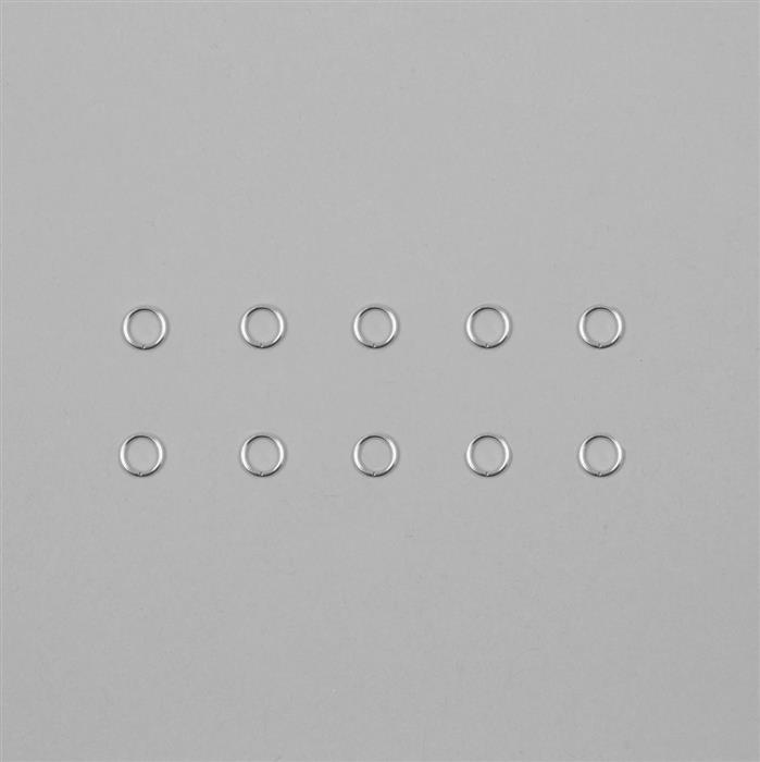 9ct White Gold Open Jump Ring 0.80mm Gauge 6.00mm (10pcs)