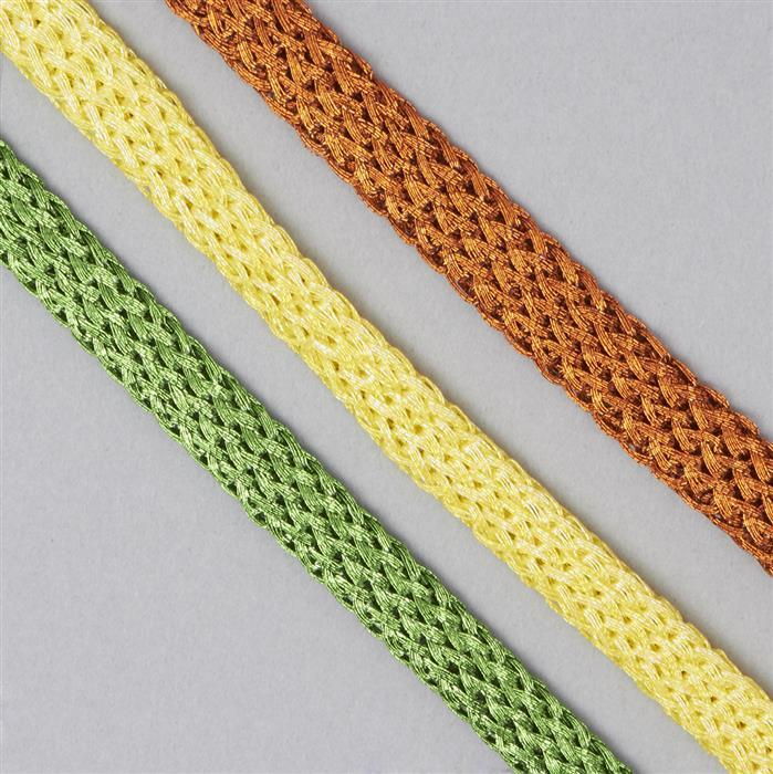 30m Orange, Daffodil & Teal Green Zari Braided Ribbon (3pcs)