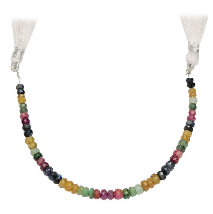 35cts Ruby, Emerald & Sapphire Graduated Faceted Rondelles Approx 3x1 to 5x2mm, 16cm Strand.
