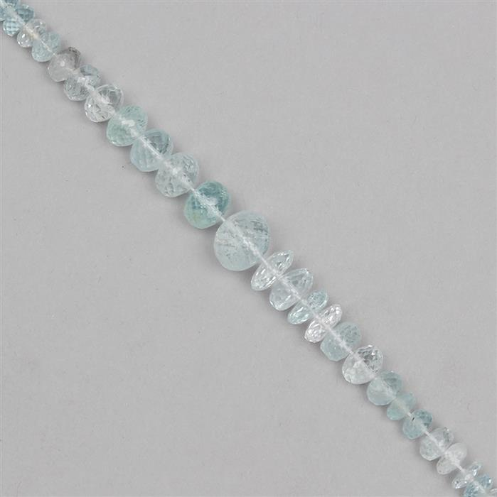 65cts Aquamarine Graduated Faceted Rondelles Approx From 3x1 to 9x4mm, 18cm Strand.