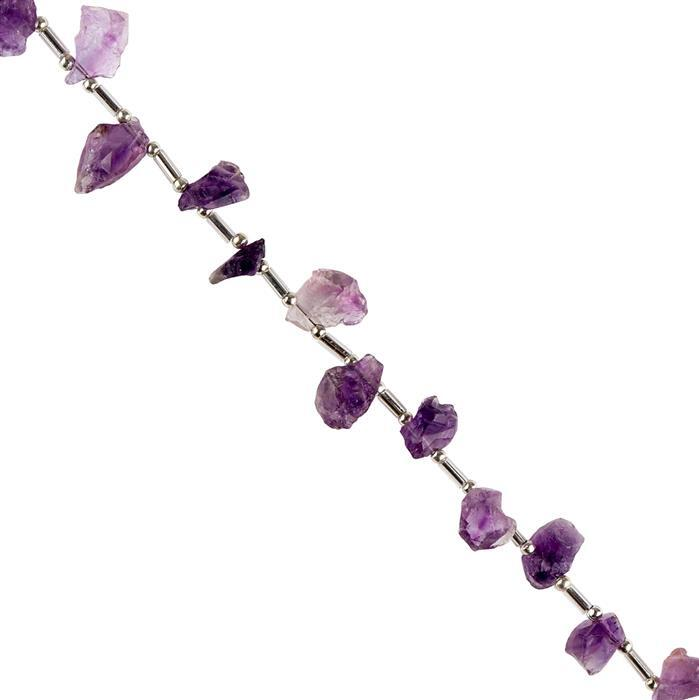 140cts Amethyst Graduated Rough Nuggets Approx 7x5 to 14x6mm, 98cm Strand.