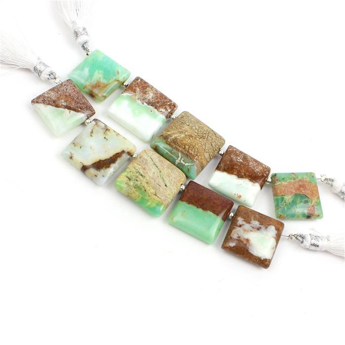Double Trouble 2x 65cts Bi Coloured Green Opal Graduated Plain Squares Approx 15 to 18mm,