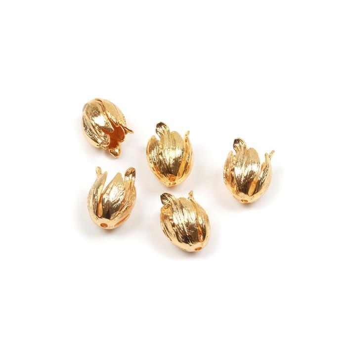 Golden Brass Bead Caps Approx 16mm 5pk