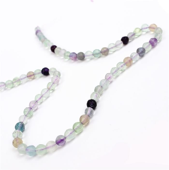 90cts Rainbow Fluorite Pumpkin cut Rounds Approx 6mm  38cm strand