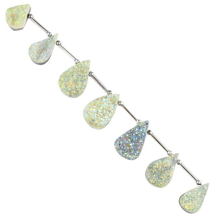 156cts Green Gold Colour Coated Druzy Quartz Graduated Top Drilled Pears Approx 16x11 to 24x14mm, 14cm Strand.