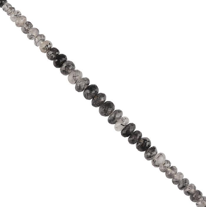 80cts Black Rutile Graduated Faceted Rondelles Approx 4x2 to 9x5mm, 16cm Strand.