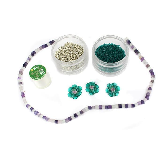 Succulents INC Preciosa Flower Lamp Beads, Fluorite Cubes, 8/0s, 11/0s & Thread