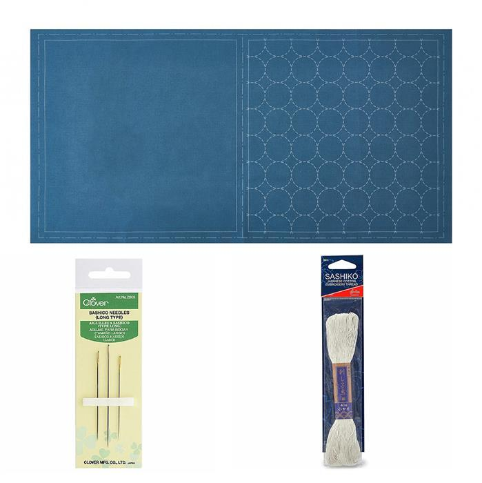Sashiko Denim Mat Panel Kit: Panel, Thread & Needles