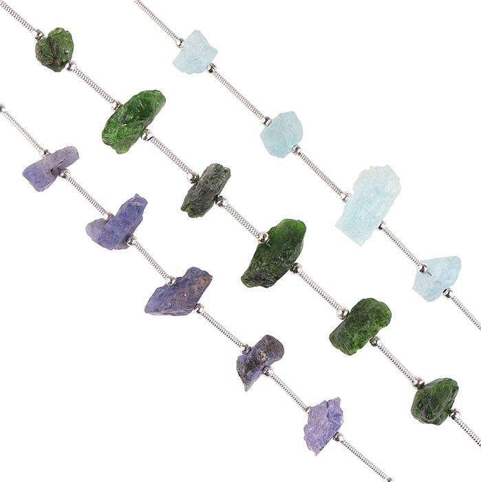 70cts Tanzanite, Aquamarine & Chrome Diopside Graduated Rough Nuggets Approx 9x3 to 10x5mm, Strands.