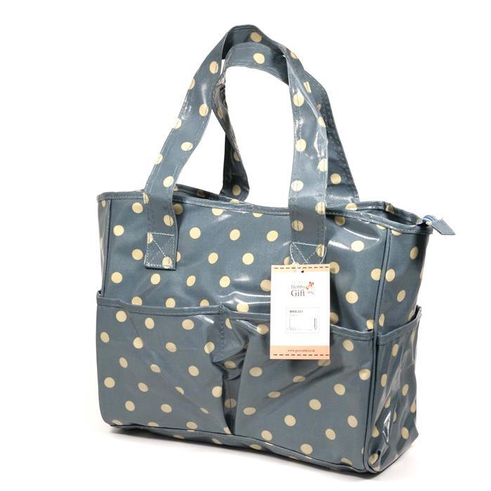 Blue/White Polka Dot Craft Bag (PVC)