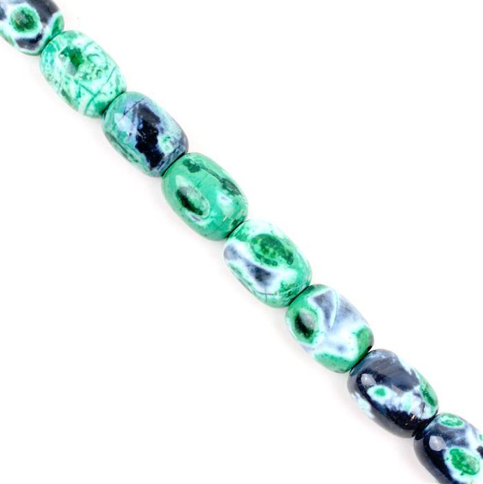 540cts Green & Black Agate Drums Appox 13x18mm, Approx 38cm strand