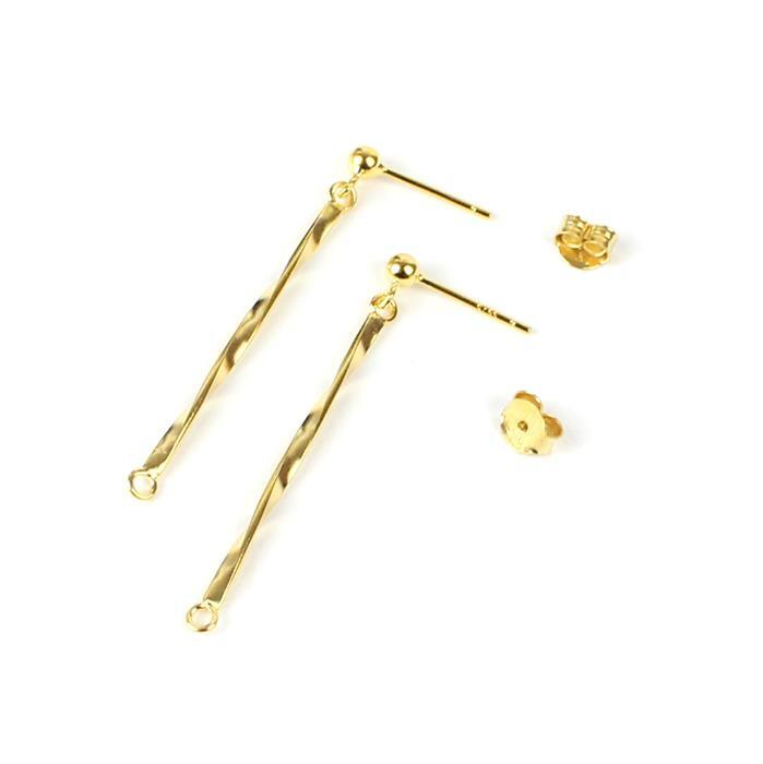 Gold Plated 925 Sterling Silver Bar Drop Earring Findings with Butterfly Back Approx 40mm, 1 Pair