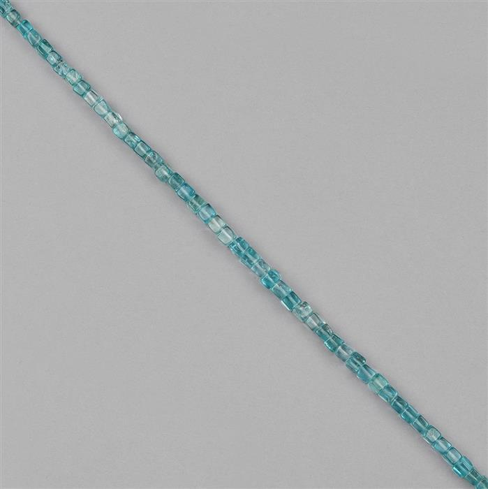 67cts Sky Blue Apatite Graduated Plain Cubes Approx 2 to 4mm, 38cm Strand.