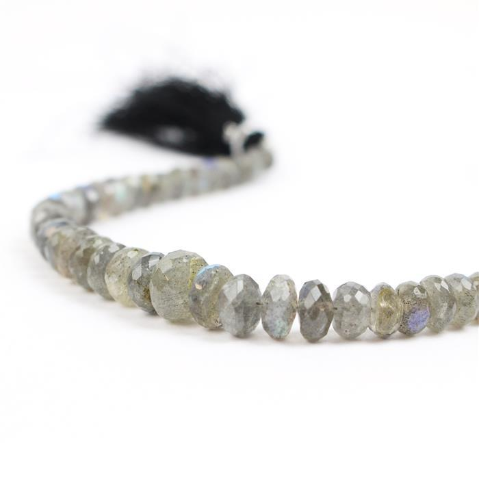 65cts Labradorite Graduated Faceted Rondelles Approx 4x2 to 7x3mm, 18cm Strand.