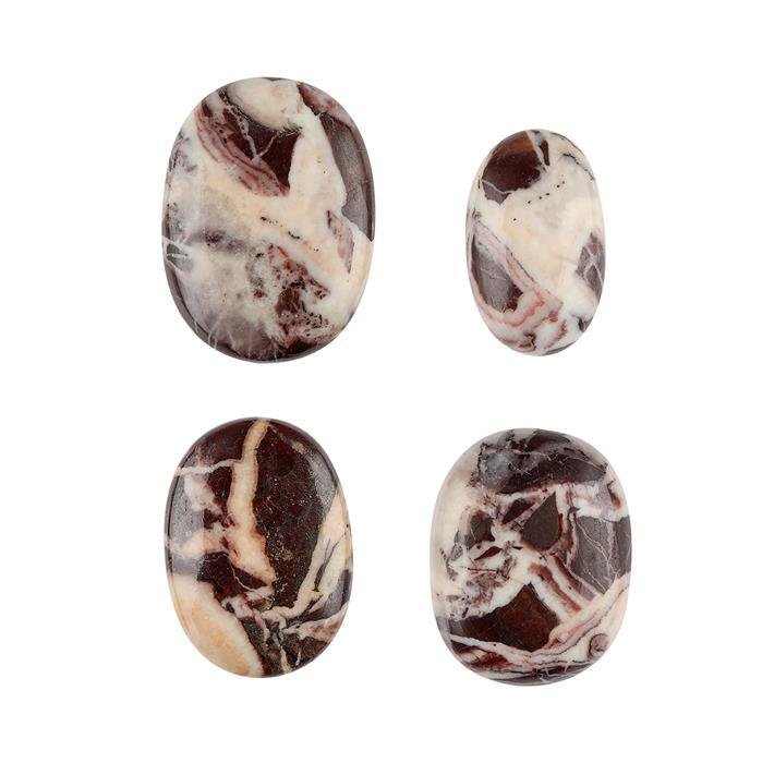 190cts Brown Zebra Jasper Multi Shape Cabochons Assortment.