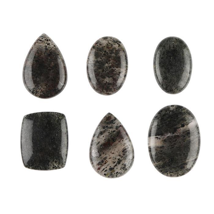 245cts Moss Rutile Quartz Multi Shape Cabochons Assortment.